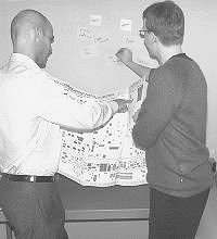 Photograph of two people working on an affinity diagram
